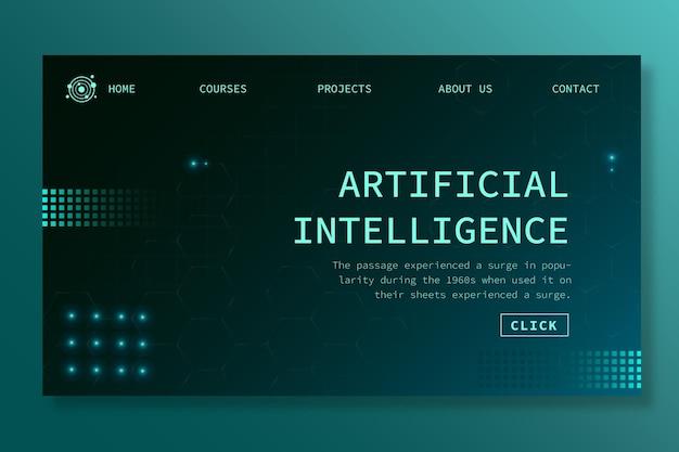 Landingspagina-sjabloon voor kunstmatige intelligentie Premium Vector