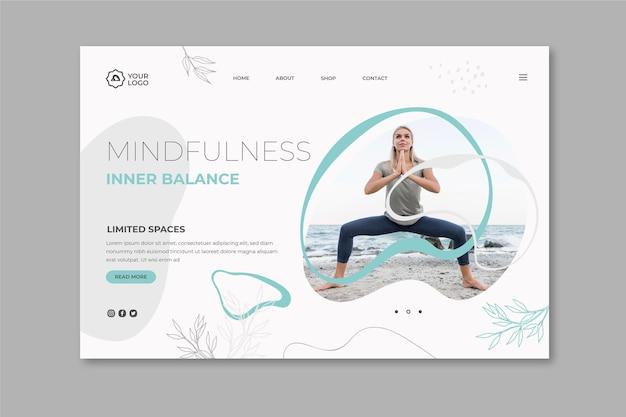 Landingspagina-sjabloon voor meditatie en mindfulness Gratis Vector
