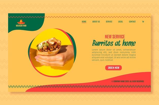 Landingspagina sjabloon voor mexicaans eten restaurant Gratis Vector