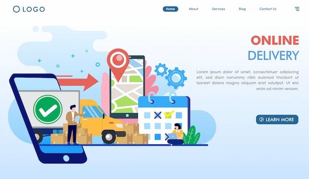 Landingspagina sjabloon voor online levering Premium Vector