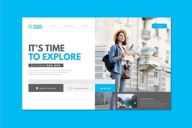 Landingspagina-thema voor reisverkoop Gratis Vector