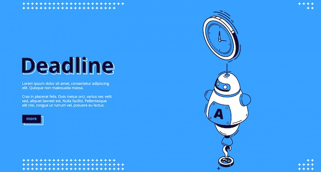 Landingspagina van deadline met chatbot en klok Gratis Vector