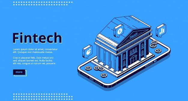 Landingspagina van financiële technologieën, fintech Gratis Vector