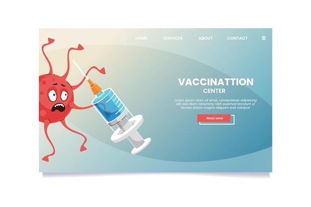 Landingspagina van het cartoon coronavirusvaccin Gratis Vector