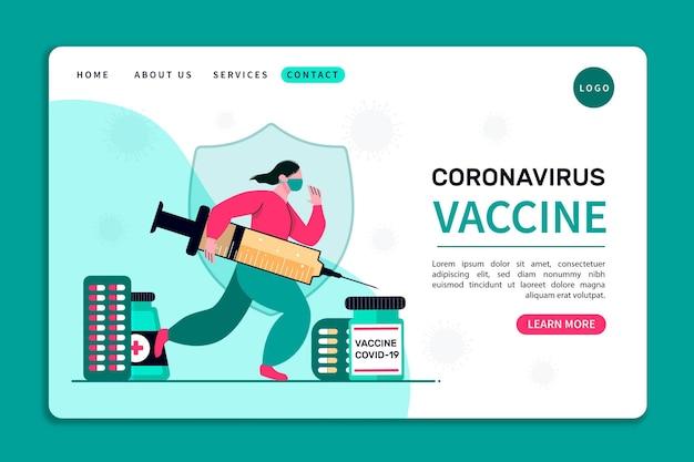 Landingspagina van het coronavirus-vaccin Gratis Vector