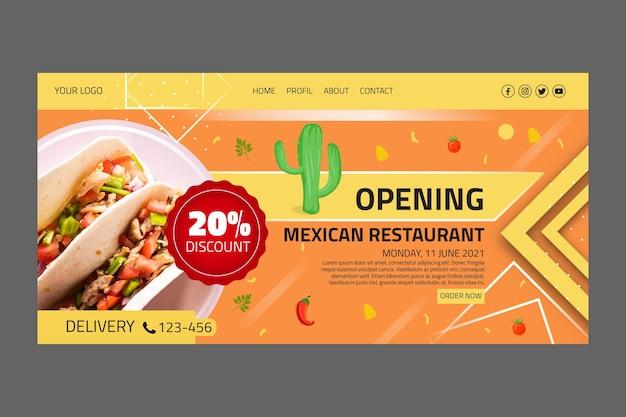 Landingspagina van mexicaans eten Gratis Vector
