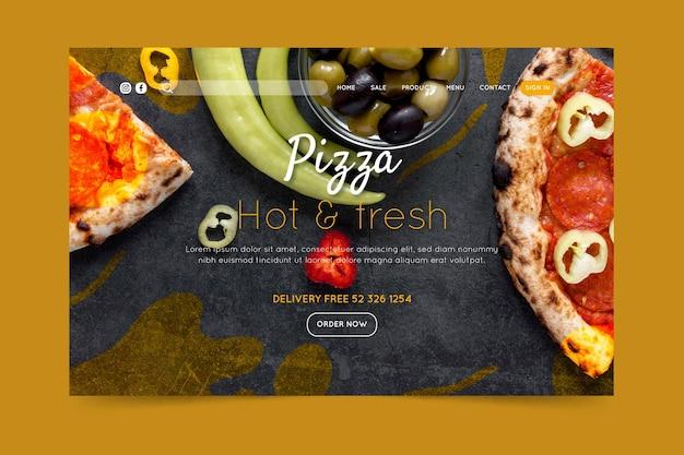 Landingspagina van pizzarestaurant Premium Vector