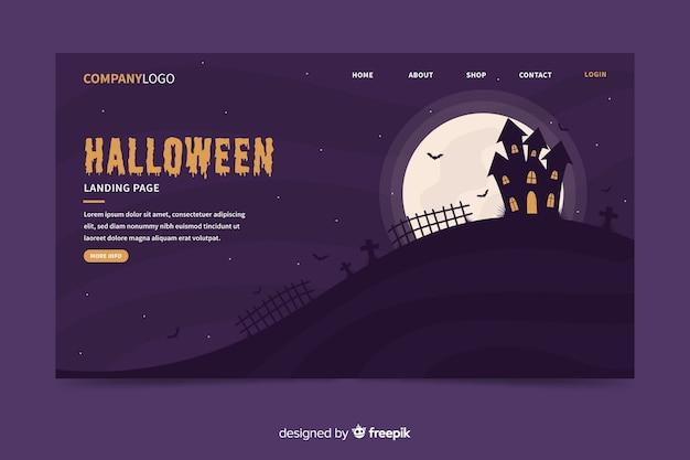 Landingspagina van platte halloween-spookhuis Gratis Vector
