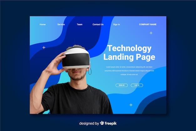Landingspagina van virtual reality-technologie Gratis Vector