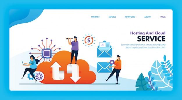 Landingspagina vectorontwerp van hosting en cloud. Premium Vector