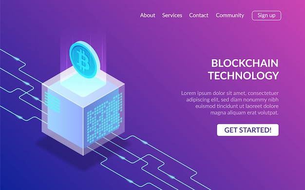 Landingspagina voor blockchain-technologie Premium Vector