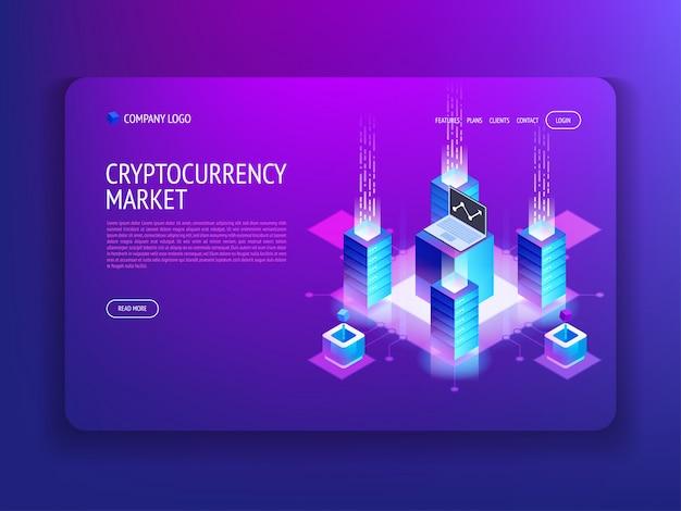 Landingspagina voor cryptocurrency-markt Premium Vector