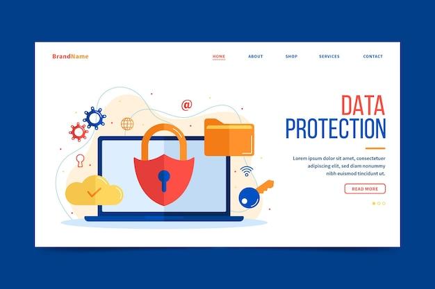 Landingspagina voor gegevensbescherming Gratis Vector