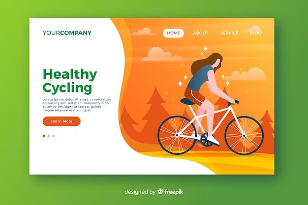 Landingspagina voor gezond fietsen Gratis Vector