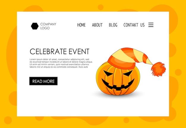 Landingspagina voor halloween-themawebsite. cartoon stijl. vector. Premium Vector
