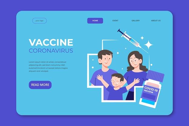 Landingspagina voor het coronavirus-vaccin met platte hand Gratis Vector