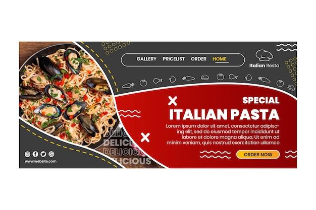Landingspagina voor italiaans eten Gratis Vector