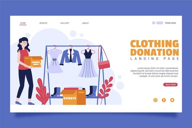Landingspagina voor kledingdonatie Gratis Vector