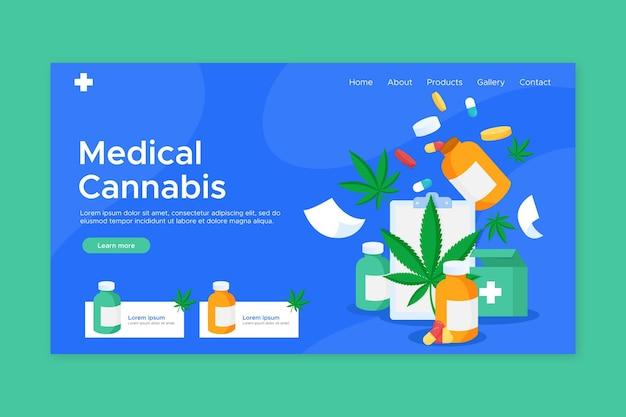 Landingspagina voor medicinale cannabis Gratis Vector