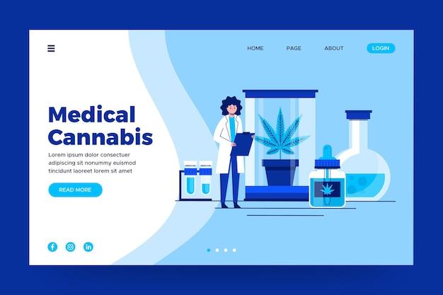 Landingspagina voor medicinale cannabis Premium Vector