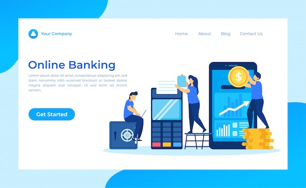 Landingspagina voor online bankieren Premium Vector