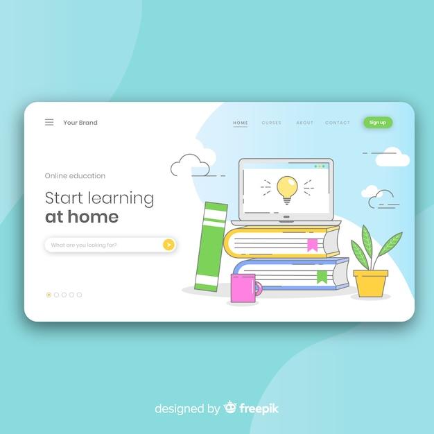 Landingspagina voor online onderwijs Gratis Vector