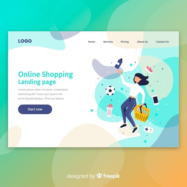 Landingspagina voor online winkelen Gratis Vector