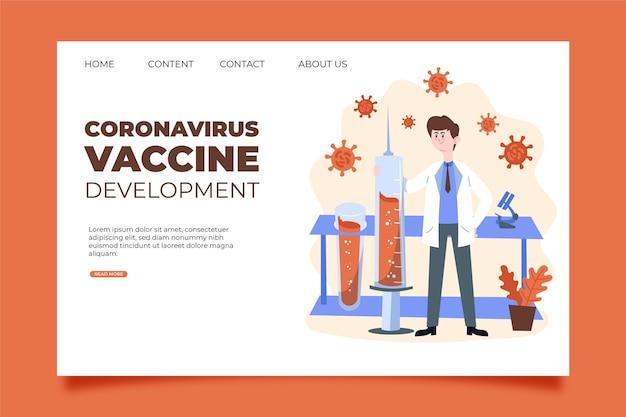 Landingspagina voor ontwikkeling van coronavirusvaccinatie Gratis Vector