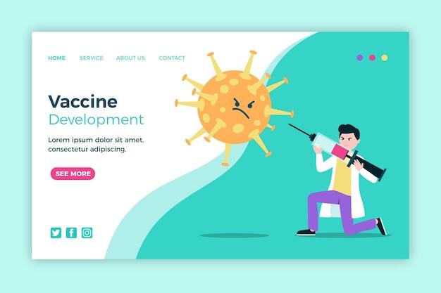 Landingspagina voor vaccinontwikkeling Gratis Vector
