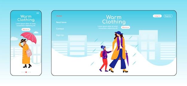 Landingspagina voor warme kleding Premium Vector
