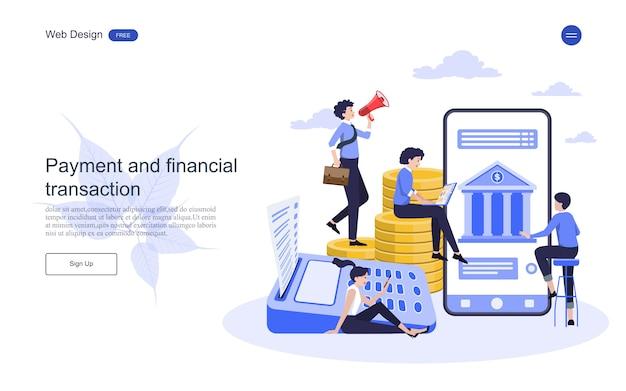 Landingspagina websjabloon bedrijfsconcept voor online bankieren, financiële transactie. Premium Vector