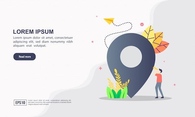 Landingspagina websjabloon concept van kaartlocatie Premium Vector