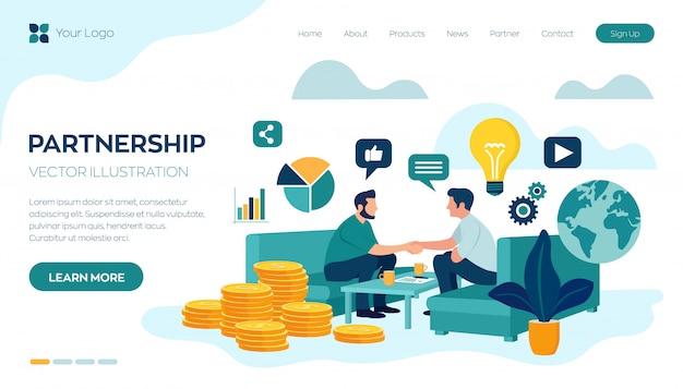 Landingspagina websjabloon met partnerschap concept. financiering van creatieve projecten Premium Vector
