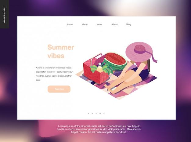 Landingspagina websjabloon met zomerpicknick thema Premium Vector