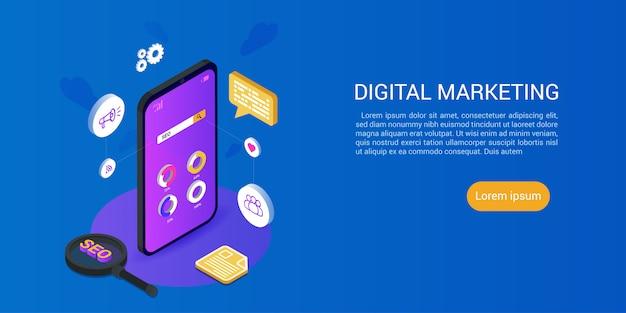 Landingspagina websjabloon voor digitale media marketing concept Premium Vector