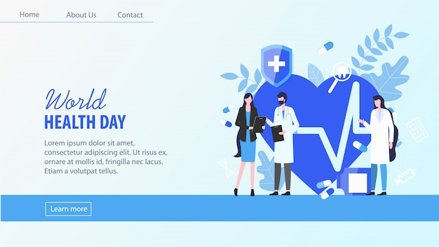 Landingspagina. wereldgezondheidsdag vrouw patiënt met man arts vrouwelijke verpleegster Premium Vector