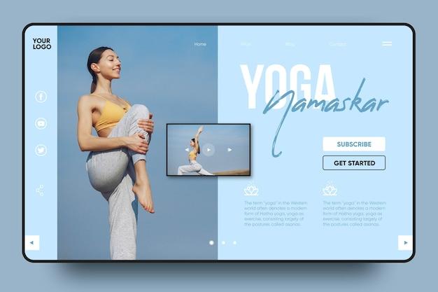 Landingspagina yoga namaskar Gratis Vector