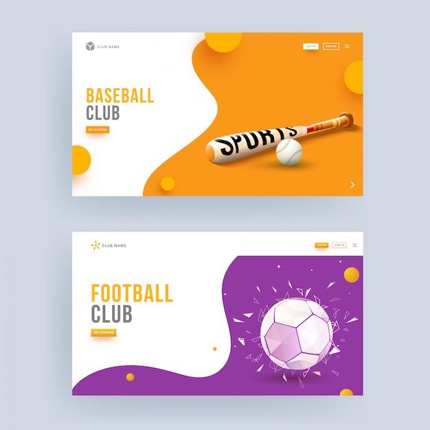 Landingspaginaontwerp voor honkbal- en voetbalclubs in tweekleurenoptie. Premium Vector
