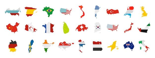 Landmark pictogramserie. vlakke set van landmark vector iconen collectie geïsoleerd Premium Vector