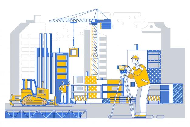Landmeter bouwer ingenieur met theodoliet doorvoer apparatuur op bouwplaats buitenshuis Premium Vector