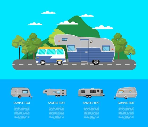 Landreizende poster met campingtrailer Premium Vector
