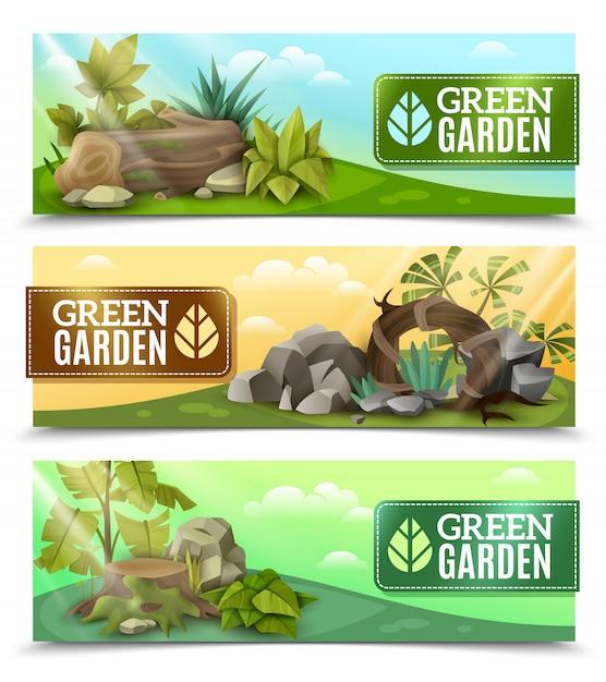 Landscape garden design horizontale banners instellen Gratis Vector