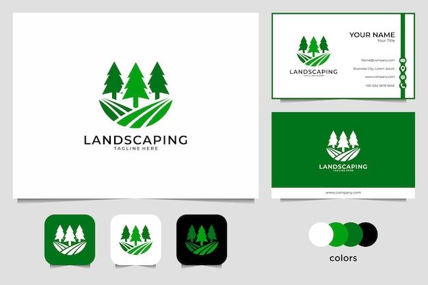 Landscaping met logo-ontwerp van de pijnboom en visitekaartje Premium Vector