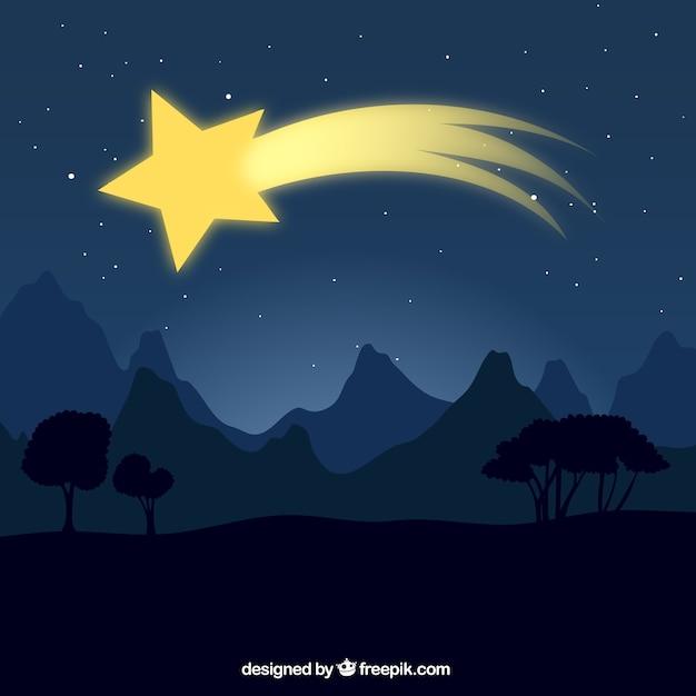 Landschap achtergrond met schietende ster Gratis Vector