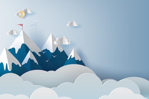 Landschap en bewolkte bergen Premium Vector