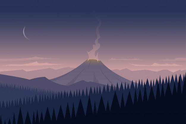 Landschap en vulkaan Premium Vector
