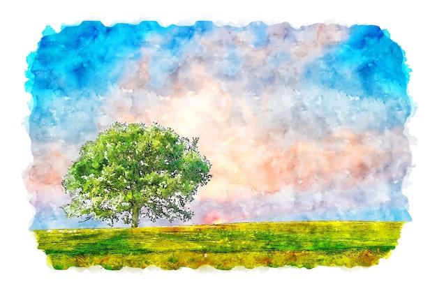 Landschap hemel boom natuur aquarel schets hand getrokken illustratie Premium Vector
