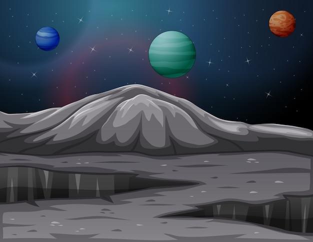 Landschap in de bergen van mars met andere planeten Premium Vector