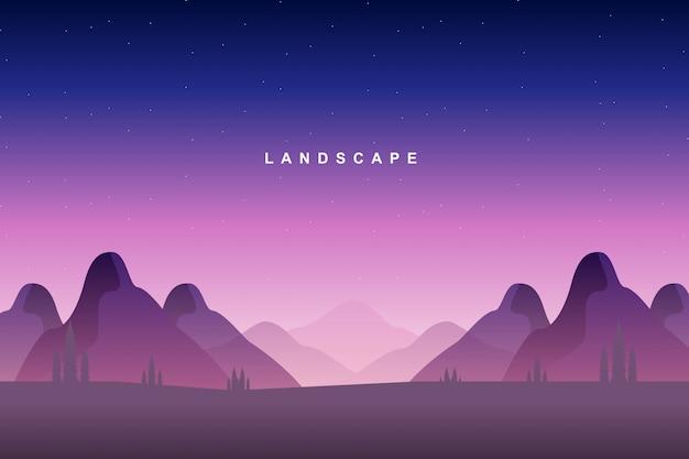 Landschap kleurrijke berg en sterrenhemel Premium Vector