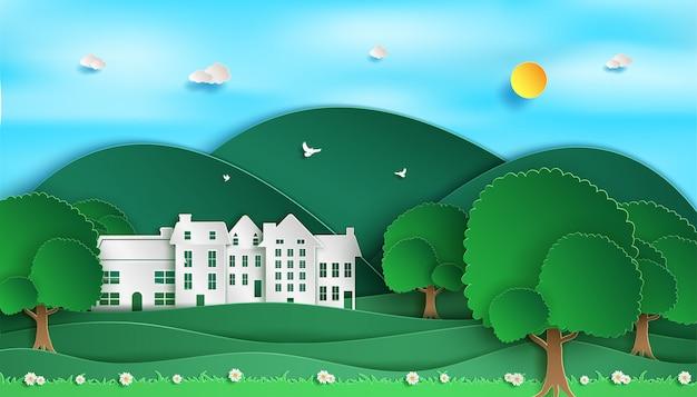 Landschap landschap. en uitzicht op de natuur bos groen. en groene eco-stad. Premium Vector